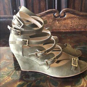 Chloe Italian Strappy Leather Wedge Sandals Green